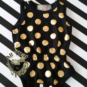 NWT Black and Gold Girls Romper Onepiece Bodysuit